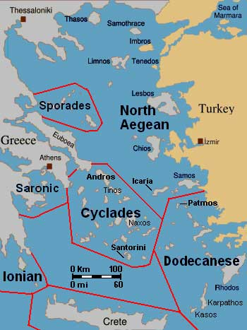 map of aegean islands