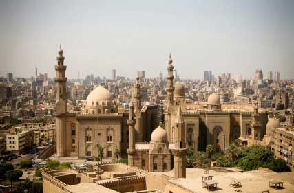 view of Cairo from roof height