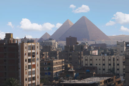 view of the Pyramids of Giza from Cairo