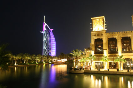 view of Burj Al Arab hotel, Dubai, at night