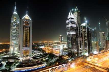 Dubai's financial district at night