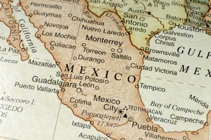Atlas showing a map of Mexico