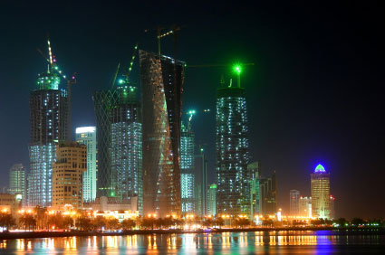 Qatar financial district at night