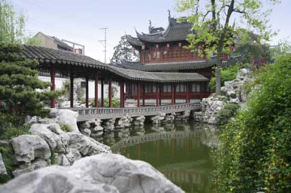 traditional temple and gardens in Shanghai
