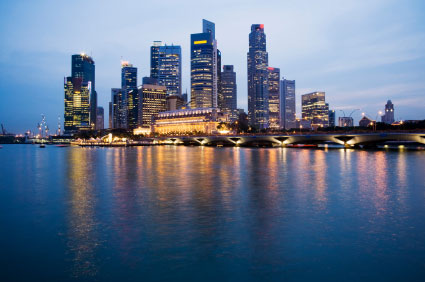 view of Singaporean financial district from the sea