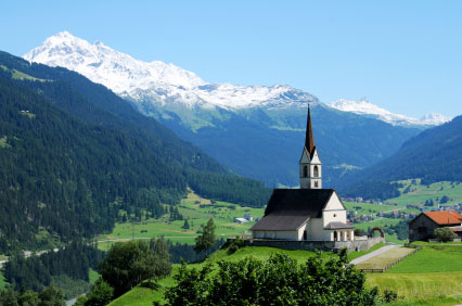 traditional Swiss countryside and mountains